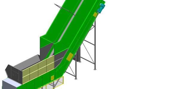Extracteur / alimentateur à bande et chaîne_CAO